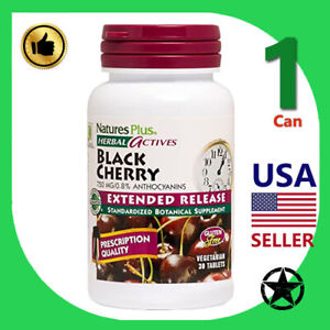 1 Can Natures Plus Herbal Actives Black Cherry Vegetarian 30 Tablets