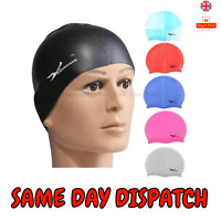 Silicone Swimming Cap Boys Unisex Adults & Kids Waterproof Swimming Pool Cap UK