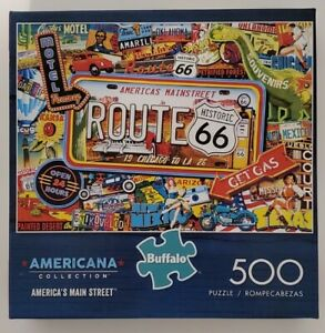 """Buffalo Games Americana Collection ROUTE 66 Jigsaw Puzzle 500 Pc  21.25"""" x 15"""""""