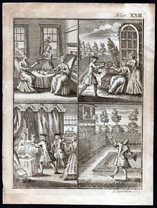DOMESTIC SCENES 1730 John Carwitham ANTIQUE ENGRAVING