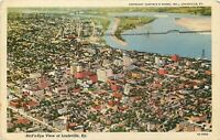 Linen KY Postcard L439 Cancel 1946 Birds Eye View of Louisville Bridge Curteich