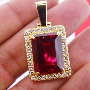 1.70 Ct White Diamond&20Ct Red Ruby Gemstone Pendant10K YG Valentineday Spl.Sale