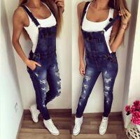 Women's Bib Pants Suspender Trousers Straps Jumpsuit Denim Overalls Jeans