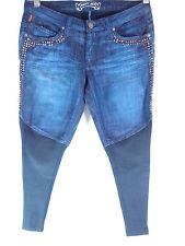 Robin's dark blue jeans Skinny leggings design stud zipper legs pocket SZ 29 New