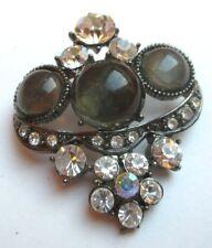 broche bijou style vintage couleur argent cristaux cabochon résine fumé 1773