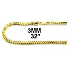 10K MENS 3MM YELLOW GOLD 32 INCH FRANCO/BOX CUBAN CHAIN
