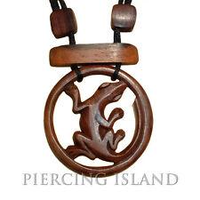 Halskette Anhänger Gecko Tribal Maori Holz Amulett N018