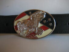 MENS GENUINE BLACK 38mm LEATHER EAGLE BUCKLE BELT