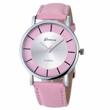 Ladies Fashion Geneva Quartz Silver Tone Case Pink Band Wrist Watch