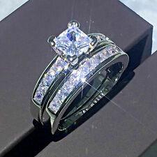 Princess Cut 2.50 Ct Diamond Engagement Wedding Band Ring Set 14K White Gold Fn