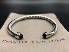 DAVID YURMAN 5mm Sterling Silver & 14K Gold Cable Classic Bracelet w Black Onyx