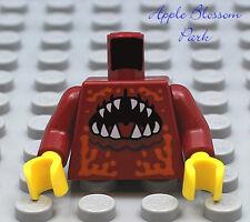 NEW Lego Male Boy MINIFIG TORSO Dark Red w/Monster Animal Shark Fang Alien Teeth