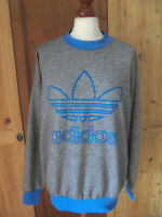 vintage 80s Adidas sweatshirt pullover oldschool jumper pulli 80er grau/blau M