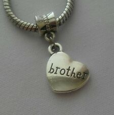 Brother Heart Sibling Gift Dangle Bead Charm Fits European Style Bracelet
