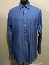 John W Nordstrom Solid French Blue Herringbone Cotton Dress Sh 00006000 irt 16 x 36