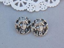 """New listing Metzke Pewter Button Lot 2 Pair Victorian Lady Face Set 7/8"""" Art Nouveau Woman"""