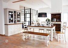 Landhaus Esszimmer Komplett 11 Tlg Weiß Massiv Holz Kiefer Buffet Esstisch  Bank