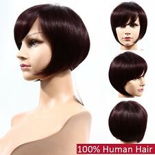 100% human hair bob wigs for black women 99j burgundy color african american 280