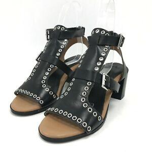 Topshop Strappy Gladiator Sandals UK 7 EU 40 Black Eyelet Block Heels 181314