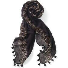 "GENUINE STELLA & DOT Westwood Tassel Scarf Wrap BLACK ROSE GOLD 38""x70"" Packaged"