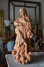 Hand carved wood  sculpture statue virgin Mary and cherubs religious