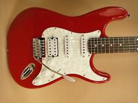 Haze E-211MRD Strat Electric Guitar SSH Metallic Red + Gig Bag + Full Kit