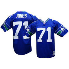 Walter Jones Seattle Seahawks Royal Mitchell and Ness Throwback Jersey L