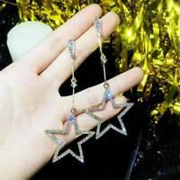 Chic Women Long Tassel Hollow Star Drop Dangle Glitter Crystal Earring Xmas Gift