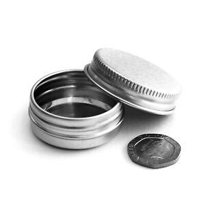 15ml Small Round Aluminium Screw Lid Tin Pots Jar Container Cosmetic Travel JIA