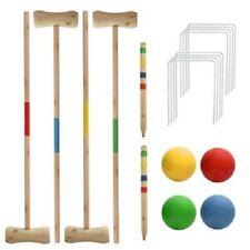 Nouveau 4 Player Croquet Set jardin jeu boules bois de pin complet Hoops 4 Mallet
