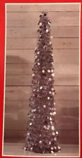 5 FT Silver Tinsel Christmas Tree Pop Up thin collapsible sequin bling
