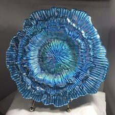 Vintage  Aqua Blue Goofus Glass Iridescent Round Abstract Serving Plate Dish
