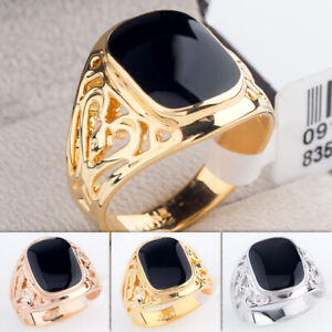A1-R074 Gold Plated Pattern Enamel Black Onyx Mens Boys Signet Ring Sz 6.5-12.5