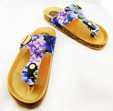 MITSUKO Floral Print and Tan Leather Sandals ** NEW **