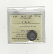 1870 Wide 0 , ICCS  Graded Canadian,  10  Cent, **SP-64**