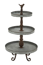 "New Vintage Metal Appeal 3 Tier Tray Stand Home Garden Kitchen Decor 16"" x 29"""