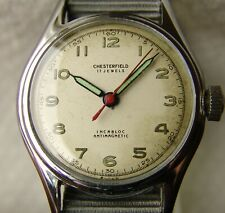 WWII ERA men's CHESTERFIELD steel MILITARY STYLE WRISTWATCH GOOD CONDITION