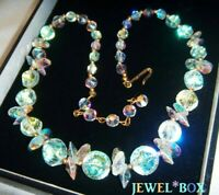 VINTAGE UNUSUAL FANCY CUTS  Aurora Borealis Austrian Crystal  SPARKLY NECKLACE