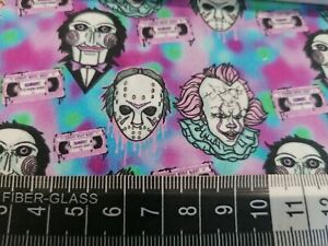 Rare Print in stock 100% Cotton Fat quarters Perfect For Facemasks Horror, clown