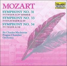 MOZART: SYMPHONIES NO. 31, NO. 33 & NO. 34 CD BY MACKERRAS/PRAGUE CO BRAND NEW