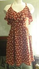 XHILARATION dress red with white flower pattern size S small