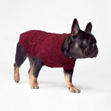 Canada Pooch Dogs Maroon Cargo Cardigan Knit Sweater Size 26� New ~ Free Ship