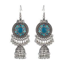 with Bell Earrings 85 x 30 mm Turkish Style Silver Blue Color Enamel Bead Tassel