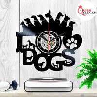 I Love Dogs Vinyl Record Wall Clock Small Large Art Home Themed Best Gift Decor