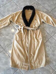 Rare Vintage Mens Polo Ralph Lauren Bath Robe 100% Cotton Brown Lounge One Size