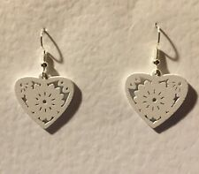 SMALL WHITE LASER CUT WOOD heart SILVER PLATED DROP EARRINGS hook FESTIVAL
