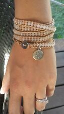 Tree of Life Leather Wrap Bracelet Festival Jewelry Yoga Peachy Nude Multilayer