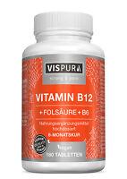 (€37,71/100g) Vitamin B12 1000 µg hochdosiert+ Vitamin B6 B9 180 Tabletten VEGAN