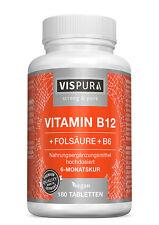 Vitamin B12 1000 µg hochdosiert + Folsäure (B9) + Vitamin B6 180 Tabletten VEGAN
