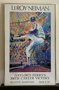 GAYLORD PERRY Autographed print LeRoy Neiman Seattle Mariners 300th Victory '82